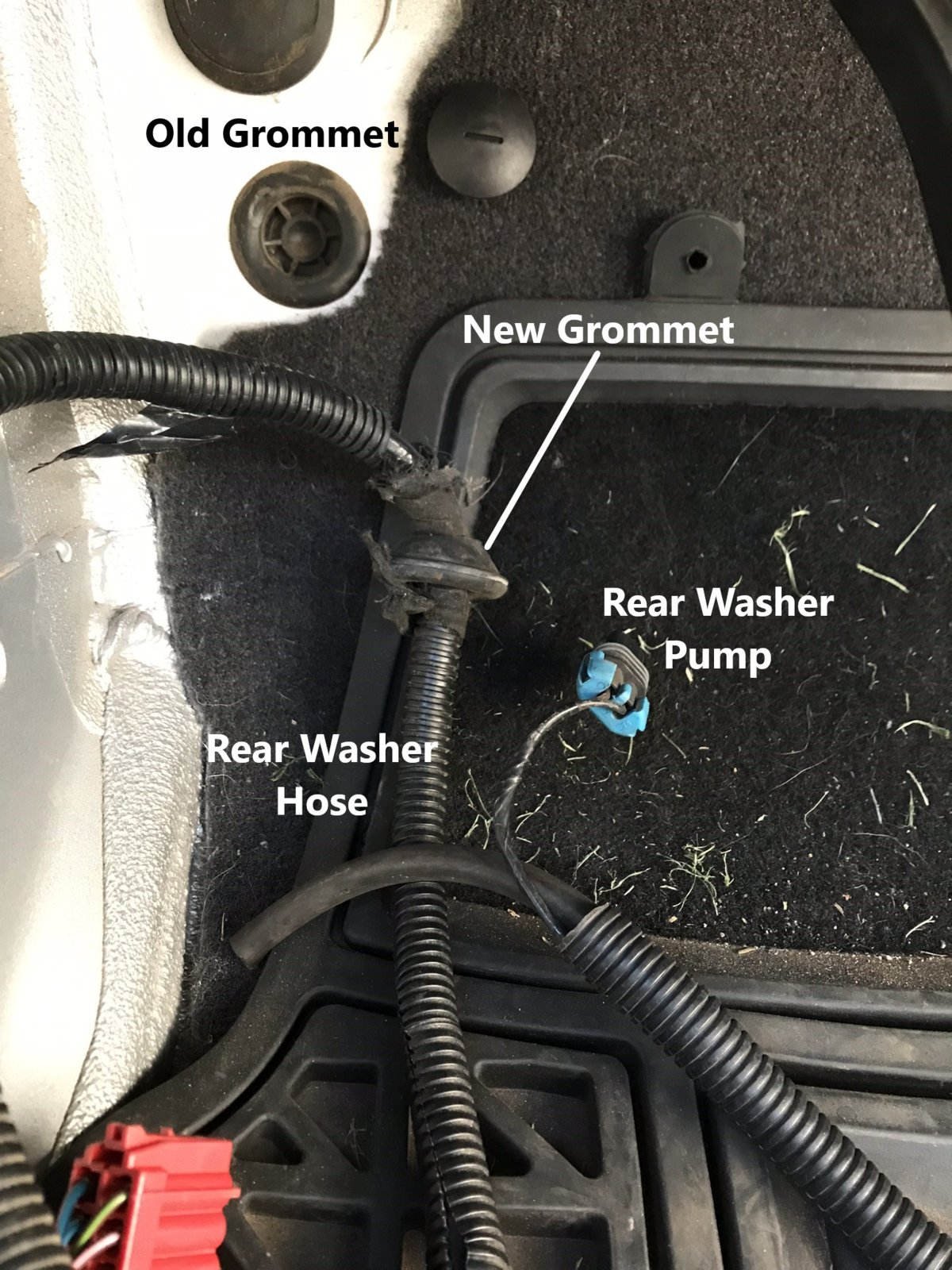 How To Factory Wire Your Tj For A Hardtop Part 2 Rear Tub Harness Firewall Grommet Begin Feeding The Washer Loom Through