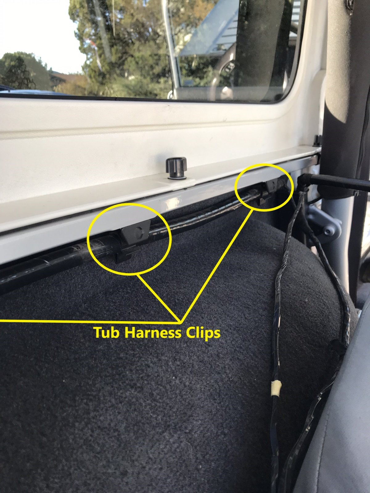 How to Factory Wire your TJ for a Hardtop Part 2 (Rear Tub ... Jeep Yj Hardtop Wiring Harness on jeep yj trailer wiring, jeep yj radio wiring, wrangler hardtop wiring, jeep yj air conditioning wiring,