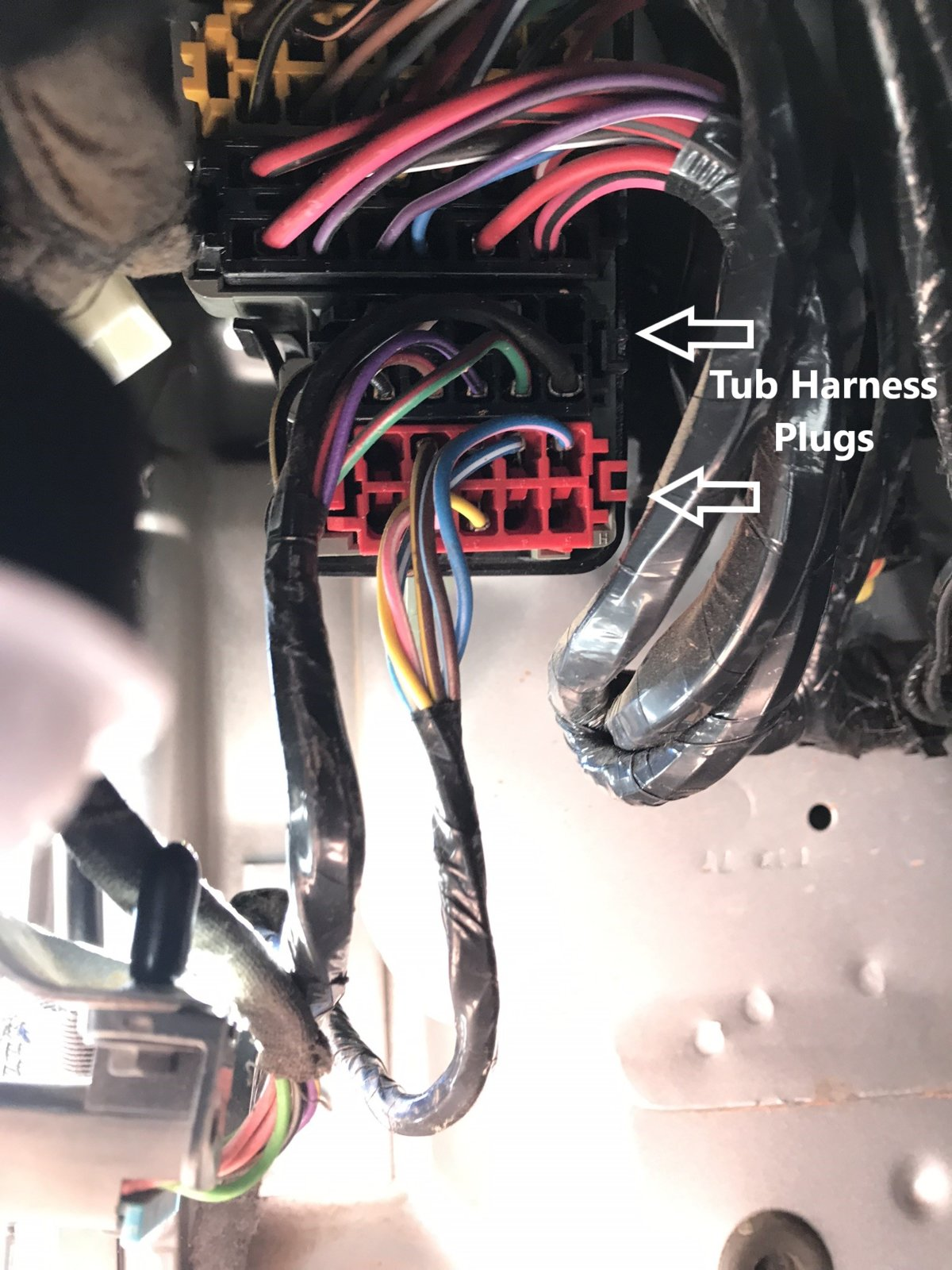 How to Factory Wire your TJ for a Hardtop Part 2 (Rear Tub ... Jeep Hardtop Wiring Harness Removal on jeep top storage system, jeep jk 2 door, jeep fan clutch removal, jeep cj5 parts catalog, jeep bikini top, jeep jk modification ideas, jeep fender removal, jeep cj5 restoration, jeep cherokee, jeep door parts, jeep comanche pickup, jeep door removal, jeep top removal kit,