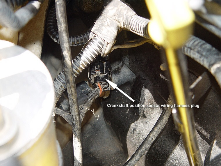 Jeep Wrangler Tj Crankshaft Position Sensor Replacement. The Cps Wiring Harness Plug May Be A Bit Difficult To Unplug And If Needed Small Flat Head Screwdriver Can Help Just Careful Not Use Too Much. Jeep. Jeep Tj Crankshaft Position Sensor Wiring Harness At Scoala.co